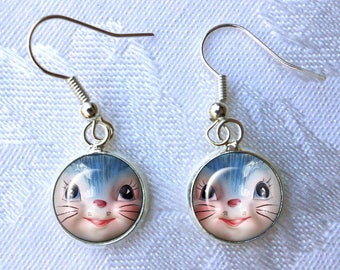 Lefton Miss Priss Earrings ~ Cat Earrings ~ August birthday ~ Vintage Kitchenware ~ Retro Jewelry