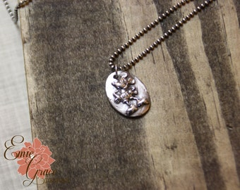 READY TO SHIP - Silver Mickey Mouse Cameo Necklace, Fine Silver, Sterling Silver, Precious Metal Clay, Pmc