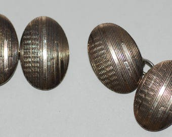 1920s era Art Deco 9Ct Gold on Silver Oval Double Faced Cuff Links AS IS -- Free Shipping!