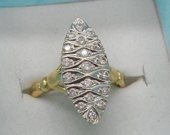 Splendid Art Deco 18 Carat Yellow And White Gold Diamond Marquise Ring 3.72 Grams.