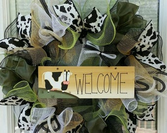 SALE Cow Wreath, Rustic Wreath, All Occasion Wreath, Country Wreath, Welcome Wreath, Deco Mesh Wreath, Ribbon Wreath, All Season Wreath