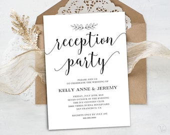 Wedding Reception Invitation, Printable Reception Party Card, Simple and Modern, INSTANT DOWNLOAD, Editable Text, Modern Calligraphy, VW10