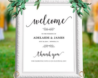 "Printable Wedding Welcome Sign, Personalized Custom Wedding Sign, 18""x24"" and 24""x36"" sizes, Editable Text, INSTANT DOWNLOAD, WS007, WV10"