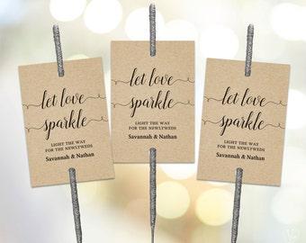 Printable Wedding Sparkler Tags, Sparkler Tag Template, Let Love Sparkle Sign, VW02