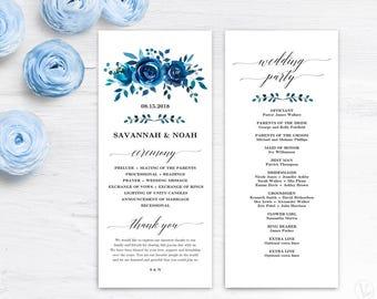 Printable Wedding Program Template, Blue Floral Wedding Programs, Wedding Programs Template, Editable Text, Tea Length, Indigo Floral