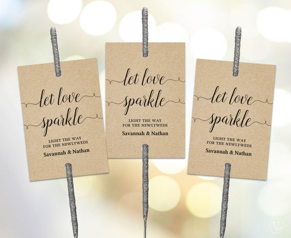Printable Wedding Sparkler Tags Tag Template Let Love Sparkle Sign VW02