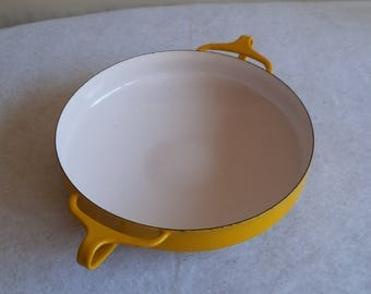 Vintage Dansk Bright Yellow and White Kobenstyle Paella Pan Enamelware Made in France JHQ with Light Wear 10 Inch Diameter Round ~ 8186