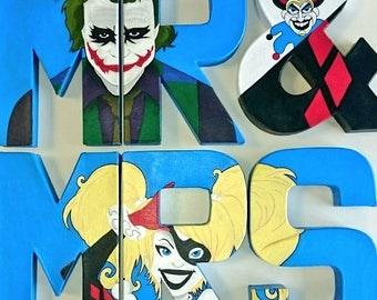 Custom Comic Book Wedding Mr & Mrs Letters, Decoupage, OOAK, DC, Marvel