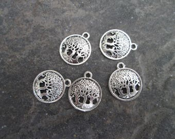 Tree of Life Charms package of 5 charms 16mm diameter filigree charms
