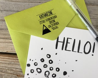 Custom, HAND PRINTED ADVENTURE, Return Address, Rubber Stamp, Modern Calligraphy Wood Stamp, Hand Lettered Stamp