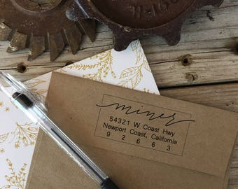 Custom Rubber Stamp Design, BOUNCY BOXED LETTERS, Return Address, Rubber Stamp, Modern Calligraphy Wood Stamp, Hand Lettered Stamp