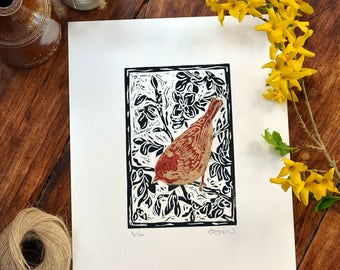 Coal tit & forsythia - linocut print, black/red/gold, hand pulled, limited edition, British birds and gardens