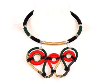TATIANA tribal thread hardware ethnic necklace statement afrofuturistic colourblock handmade wrapped serpent