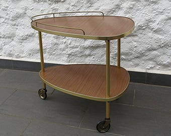 50s Vintage Bar Cart Trolley Tea Trolley Formica/Wood