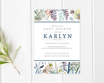 Baby Shower Invitation, Floral Baby Shower Invite, Pretty Baby Shower Invite, Vintage Baby Shower Invite, Boy Baby Shower, Vintage [431]