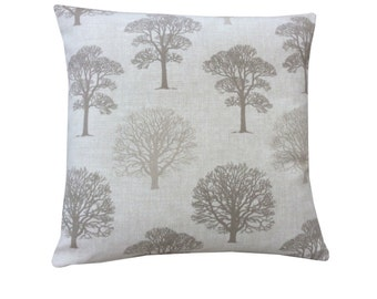 Beautiful Marson Tree design fabric in taupe beige made in Britain modern country  cushion cover pillow case