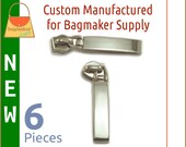 Extra Long Rectangular Size 5 Zipper Pull / Slider, Shiny Nickel Finish, 6 Pieces, Purse Handbag Hardware, Rectangle, ZIP-AA241 New Item