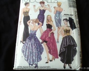McCalls 5721 Strapless Dress Pattern, Glam Party Dress in Two Lengths, Size 12 14 16, Uncut, 1990's,Vintage Sewing,Pattern,Misses