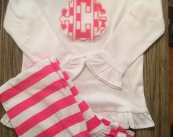 Striped Scalloped Applique Initial Top and Pants Ruffle Set