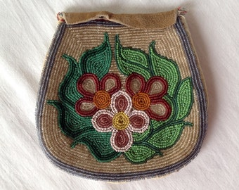 Native American Beaded Leather Pouch