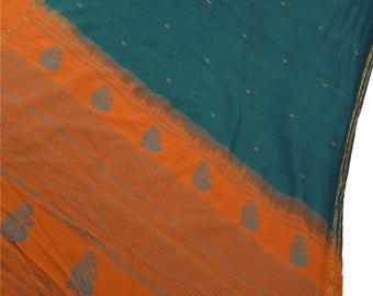 KK Indian Saree Cotton Blend Woven Blue Craft Fabric Sari