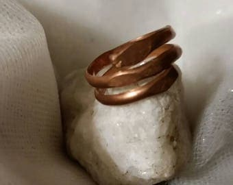 Wire Wrapped Heavy Copper Ring Bands.