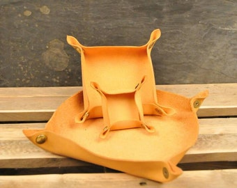 "Leather Catchall tray, 8"" x 8"" valet tray, table tray, ring tray, travel tray,  unfoldeable, home decor"
