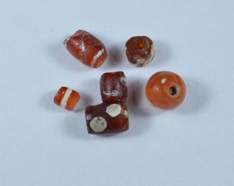 Ancient Etched Carnelian Beads Necklace Persian,Bactrian,Light Orange Oval,Tabular,Round Beads, Ancient 001.19