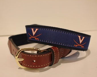 University of Virginia  Men's  Web Leather Belt