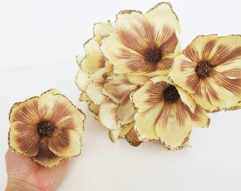 "10 Silk Magnolias Glitter Shiny Artificial Flowers Magnolia Creamy Brown Christmas Flowers 4.3"" Floral DIY Wedding Flower Supplies"