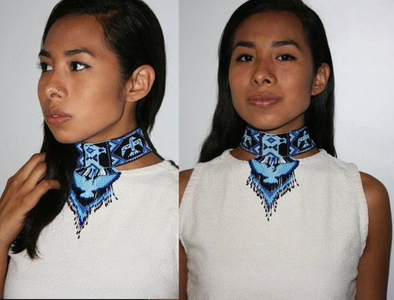 Native Style Choker, Sexy Tribal Choker, Thunderbird Choker, Eagle Choker, Native America Style Beaded Choker, Beaded Choker Necklace