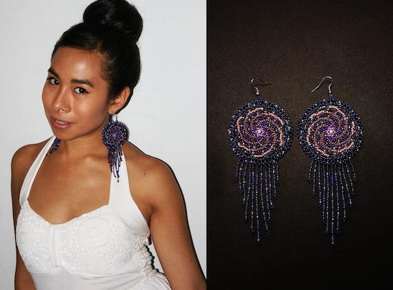 Gorgeous Spiral Galaxy Earrings, Native American Style Beaded Earrings, Sacred Cosmos Jewelry, Mayan Astrology Earrings, Boho Earrings