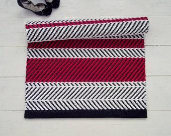 Black, White, Red Rug, Geometrical Rug, Zigzag Rug, Chevron Rug, Scandinavian Rug, Handmade, Washable, Woven on the Loom, Made to Order