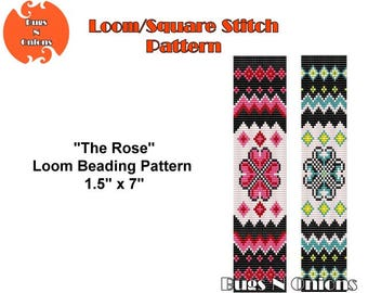 The Rose, Ethnic, Loom or Square Stitch Bracelet Pattern, Cuff Pattern, Instant Download