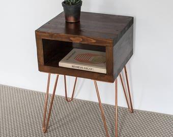 Ella Bedside Table | Side Table | Small Table | Dark Oak | Reclaimed Wood | Copper Hairpin | Industrial Nightstands