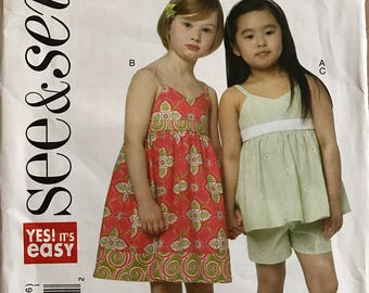 Butterick B5630 - See & Sew Raised Waist Dress and Top and Pull On Shorts - Size 3 4 5 6