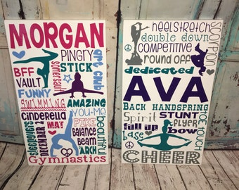 gymnastics bedroom. SALE Personalized Wooden Teen Gymnast Gymnastics Cheer cheerleader Bedroom  Decor Sign decor Etsy