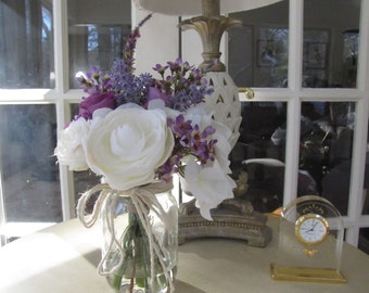 Beautiful  Silk Flower Arrangement-purple, white rose , white hydrangea and lavender in a glass Mason Jar with Faux Water.