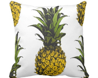"Pineapples, OUTDOOR Bright Yellow, Green & White Throw Pillows or Cover, 16 or 20"" Pillow or Cover, Tropical Print"