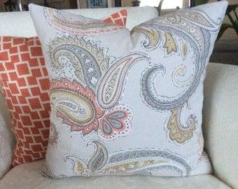 Peach Grey Paisley Pillow Cover, Light Grey Pillow, Paisley Pillow, 18x18 Cushion, Decorative Pillow, Accent Pillow