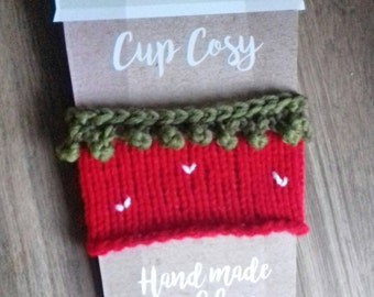 Knitted strawberry cup cosy coffee sleeve