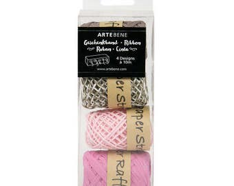 Artbene Pink and  Brown mixed box of raffia ribbon and string, Pretty packaging for gift wrapping, Crafting raffia and twine in a boxed set