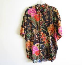 Vintage 90's Jams World black floral print button down rayon shirt | Made in USA | Medium (tag) Medium (fit)