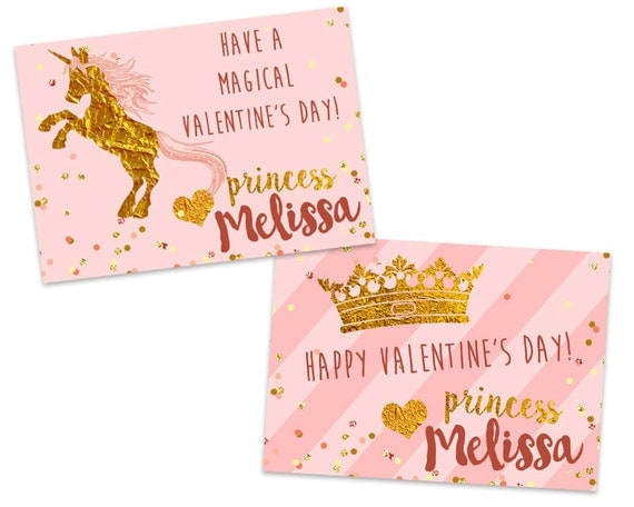 princess valentines personalized unicorn pink and gold classroom
