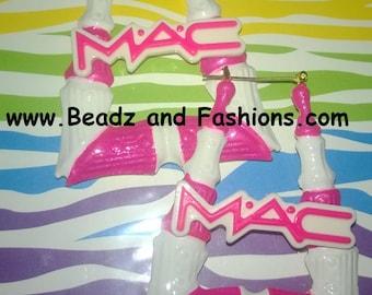 Mac pink & white square bamboo hoop earrings