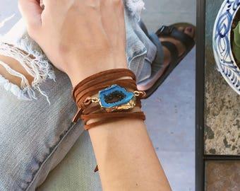 Druzy bracelet - leather bracelet - leather wrap bracelet - druzy wrap bracelet - boho bracelet - boho leather bracelet - coachella bracelet