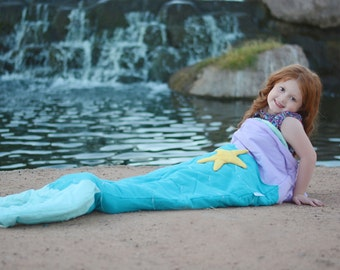 Quilted & Embroidered Mermaid Tail Blanket  (Ages 3 - 12) Sleeping Bag Sack Nap Mat Fleece Christmas Present Kids Girls Gift
