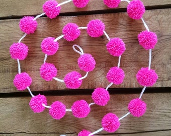 pom pom garland, pompom garland, pompoms, pom pom garland, nursery decor, Pompom bunting, nursery garland, baby shower, birthday bunting