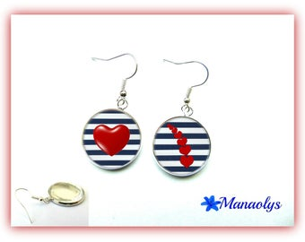 Earrings style sailor, red hearts, glass cabochons
