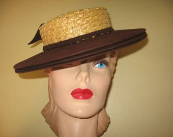 SALE! 1940's-50's Wide Brim Straw Sailor Hat!